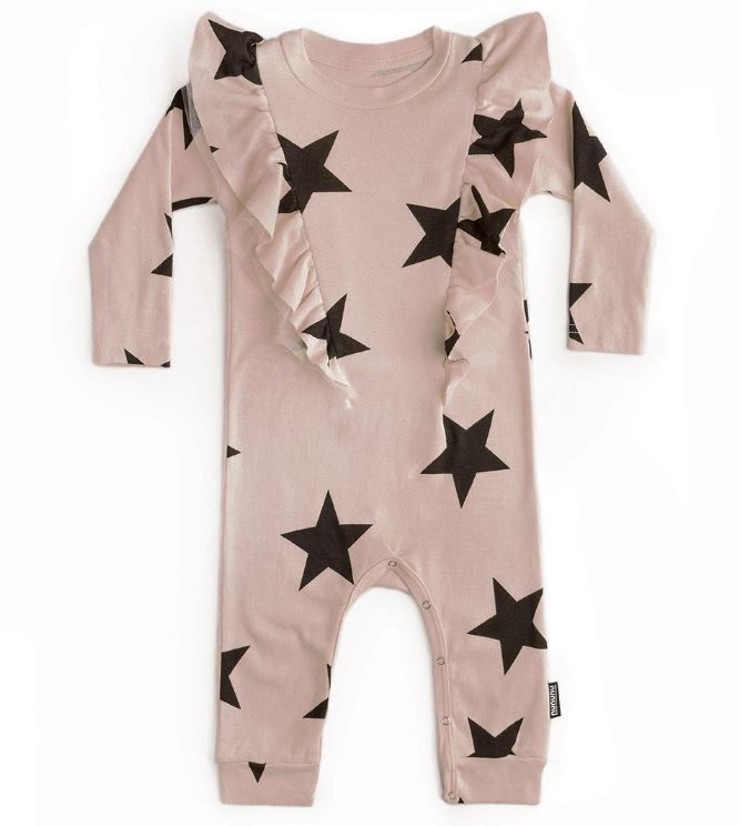 NU2811 / POWDER PINK / Ruffled Star Playsuit