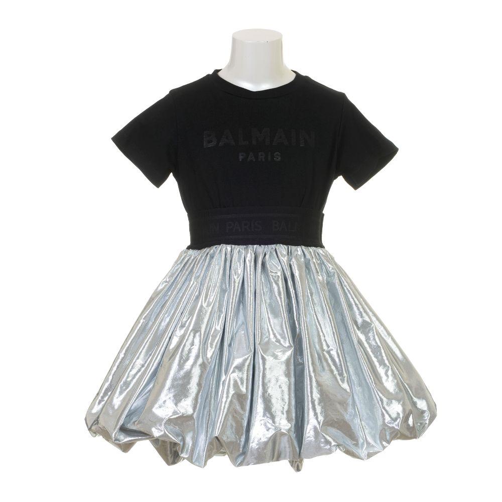 6O1191 OB690 / 930 BLACK / Girls Ss BI-Material Dress With Silver Poof Skirt
