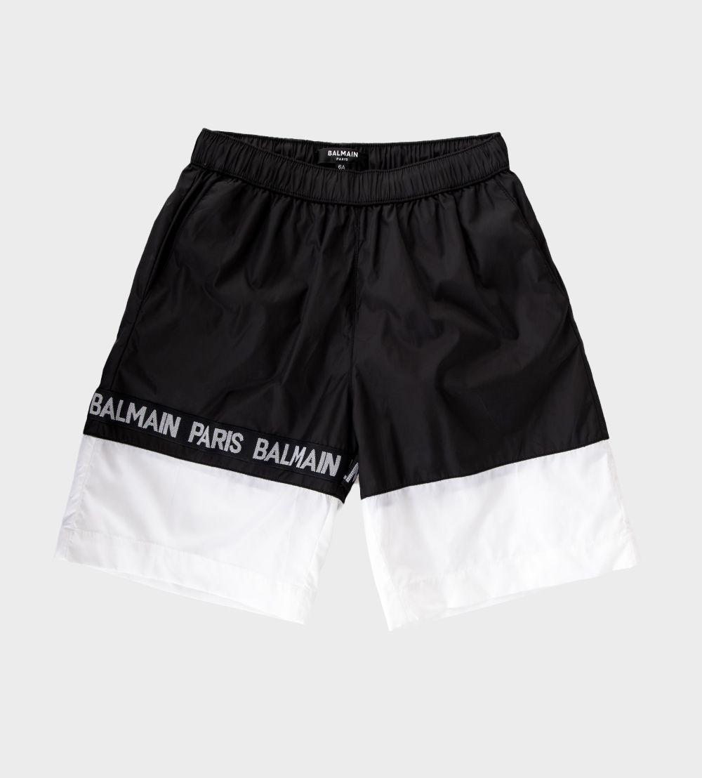 21 6M0539 MX290 / 930BC BLK/WHT / Boys Two Tone Swim Shorts W/Logo