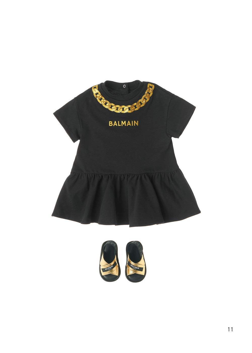 6O1881 OB690 / 930 BLACK / Baby Girls Ss Jersey Logo Dress W/Chain Print