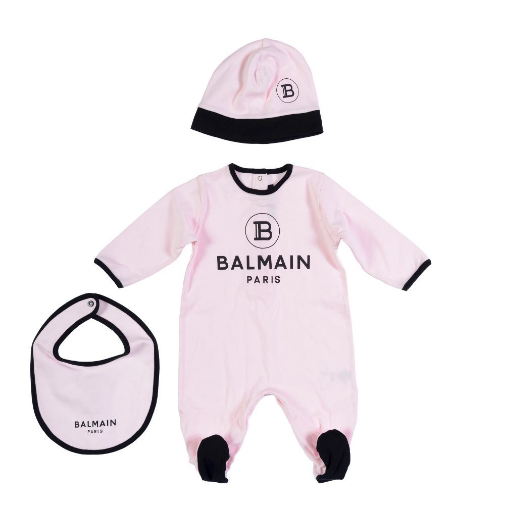 21 6M0850 MB370 / 506NE PNK/BLK / Baby 3 Pc Footies + Bib+Hat Set