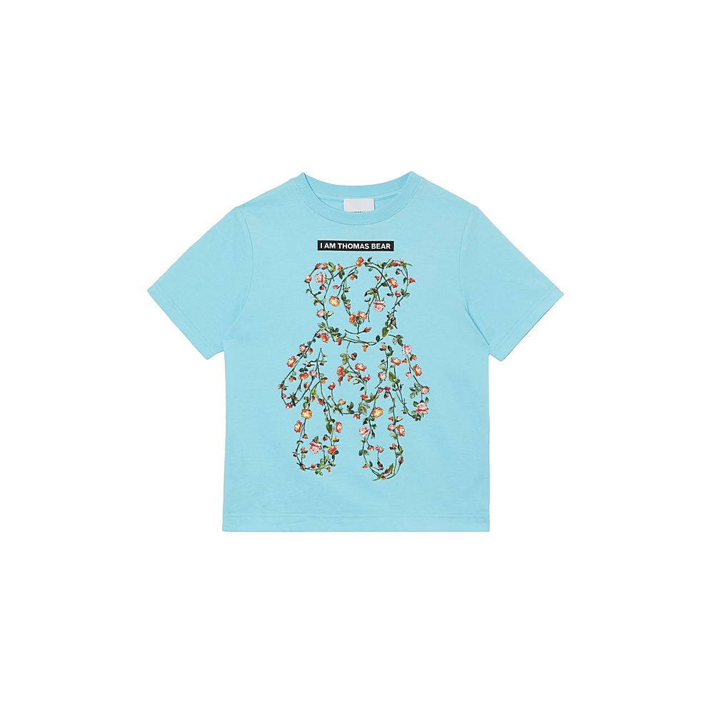 8038530 / PALE TURQUOISE / BURBERRY FLORAL BEAR GIRL TEE