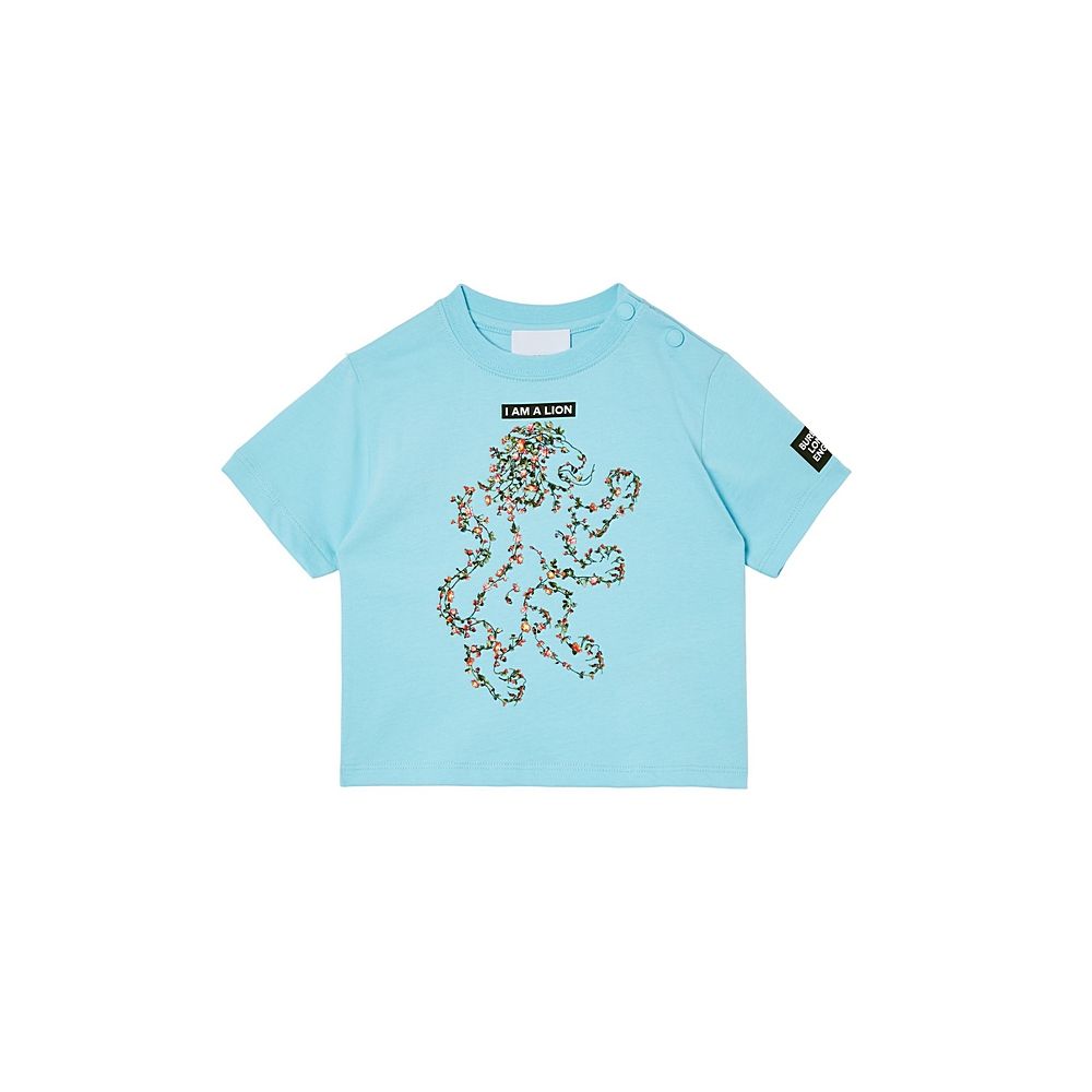 8038460 / PALE TURQUOISE / BURBERRY FLORAL LION BOY TEE