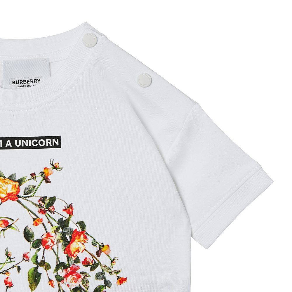 8038445 / WHITE / BURBERRY PAM FLORAL UNICORN TEE