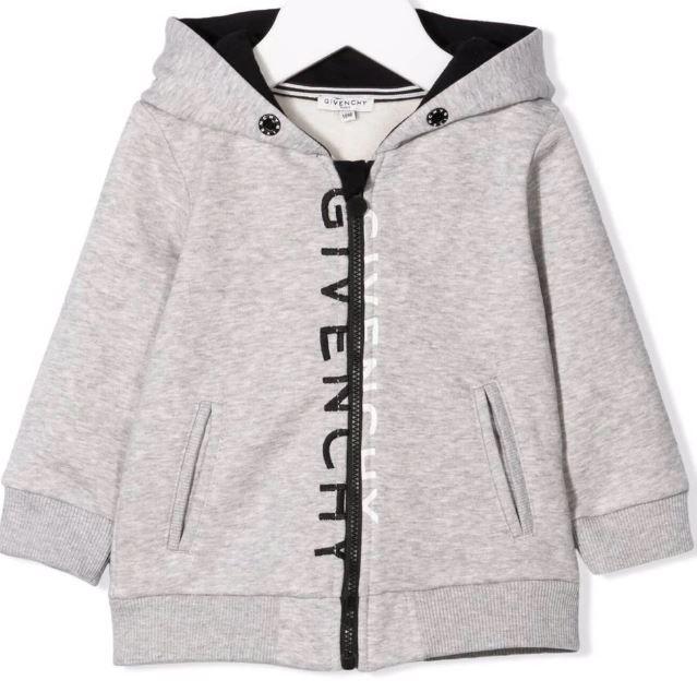 H05190 / A01 GREY MARL / Boys Zip Up Jacket With Split Logo