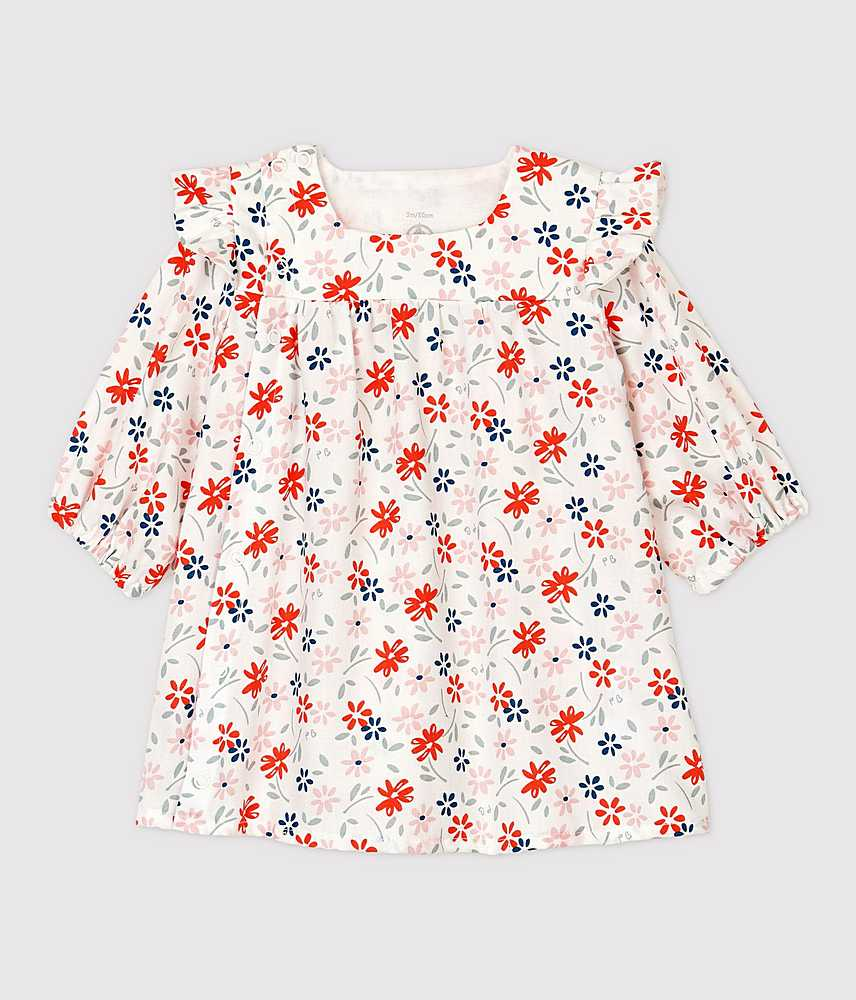 A01TD TALIA / 01 WHITE MULTI / Baby Girls Ls Floral Dress With Shoulder