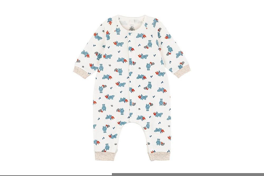 A01PS TAIS / 01 WHITE MULTI / Baby Boys Ls Teddy Bear Print Romper