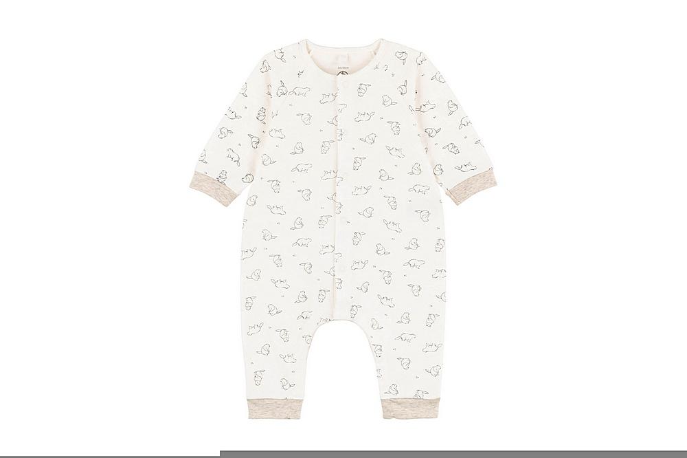 A01K3 TALBOT / 01 WHITE GREY / Baby Ls Beaver Print Romper