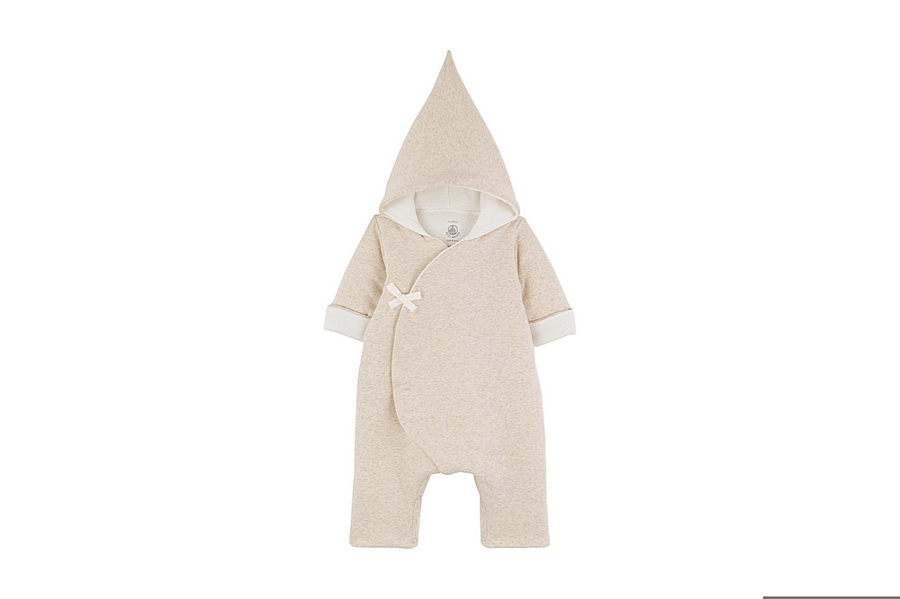 A01JX TAKUMA / 01 BEIGE CHINE / Baby Hooded Side Snap Coverall