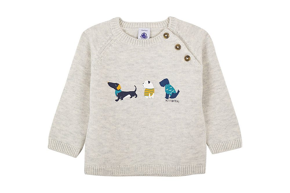 56200 LAWRENCE / 01 GREY / Baby Boy Sweater With Dogs Graphic