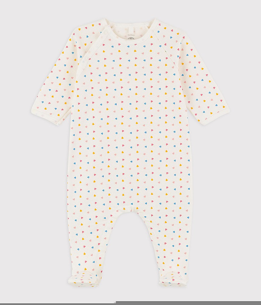 A024K TAMINE / 02 WHITE MULTI / Baby Side Snap Printed Footie
