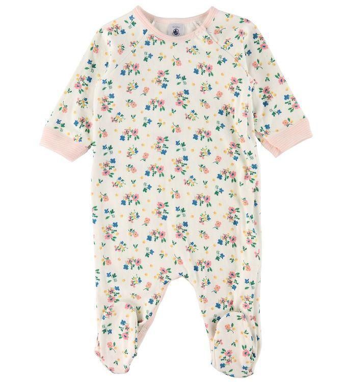 A01KR TICHARPE / 01 WHITE MULTI / Baby Girl Side Zip Floral Footie