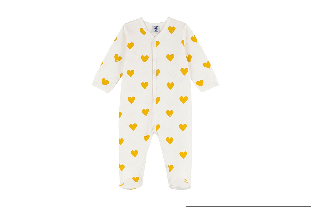 A01RV TIGLOVE / 01 WHITE YELLOW / Baby Girl Front Snap Heart Print Footie