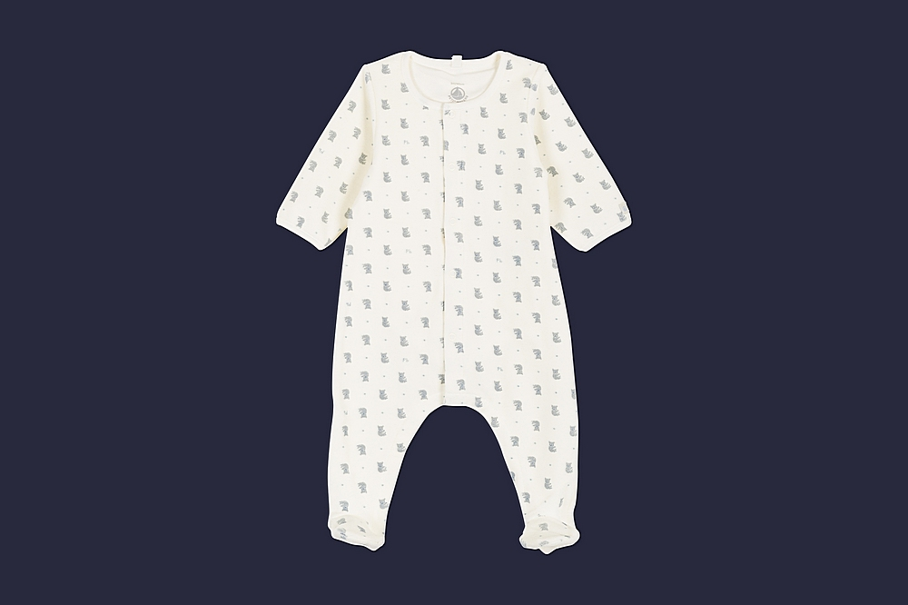 56346 LAGON / 01 WHITE BLUE / Baby Boy Velour Footie W/Inter Attached Bodysuit