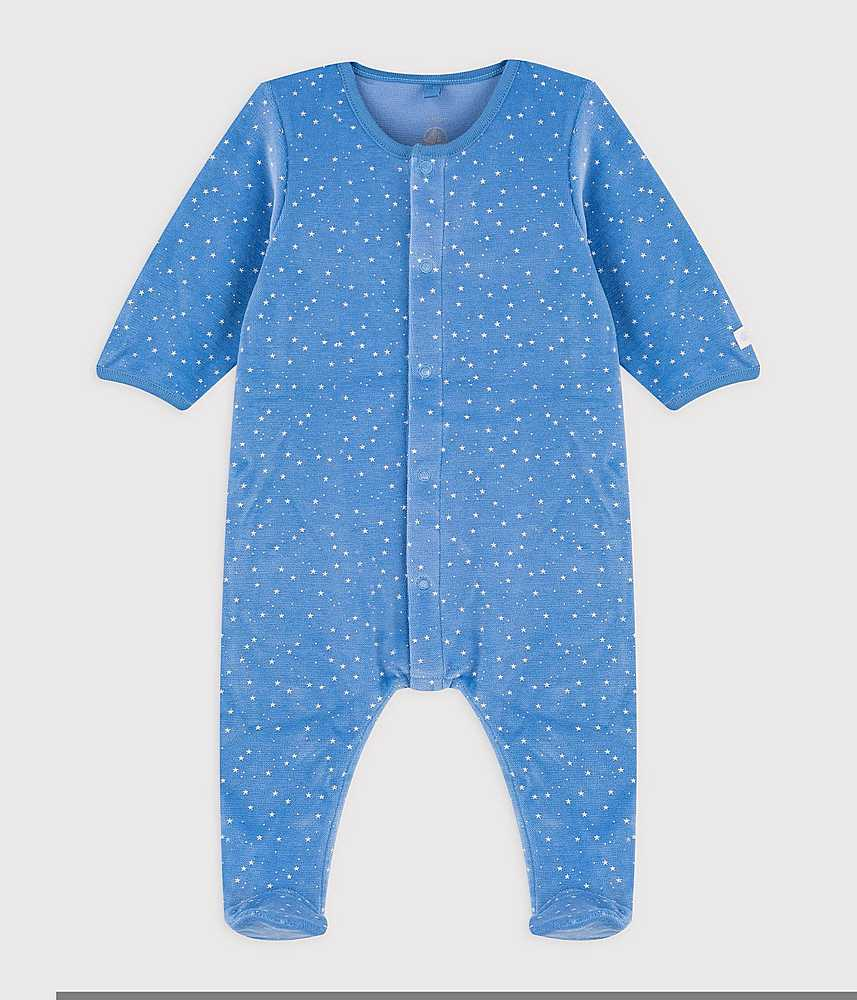 A0205 TAMISO / 01 BLUE WHITE / Baby Boy Velour Front Snap Star Print