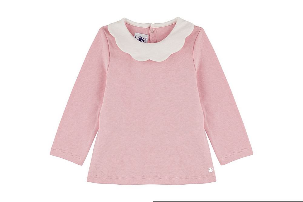 A01CN TARA / 01 PINK / Baby Girls Ls Scallop Collar Top