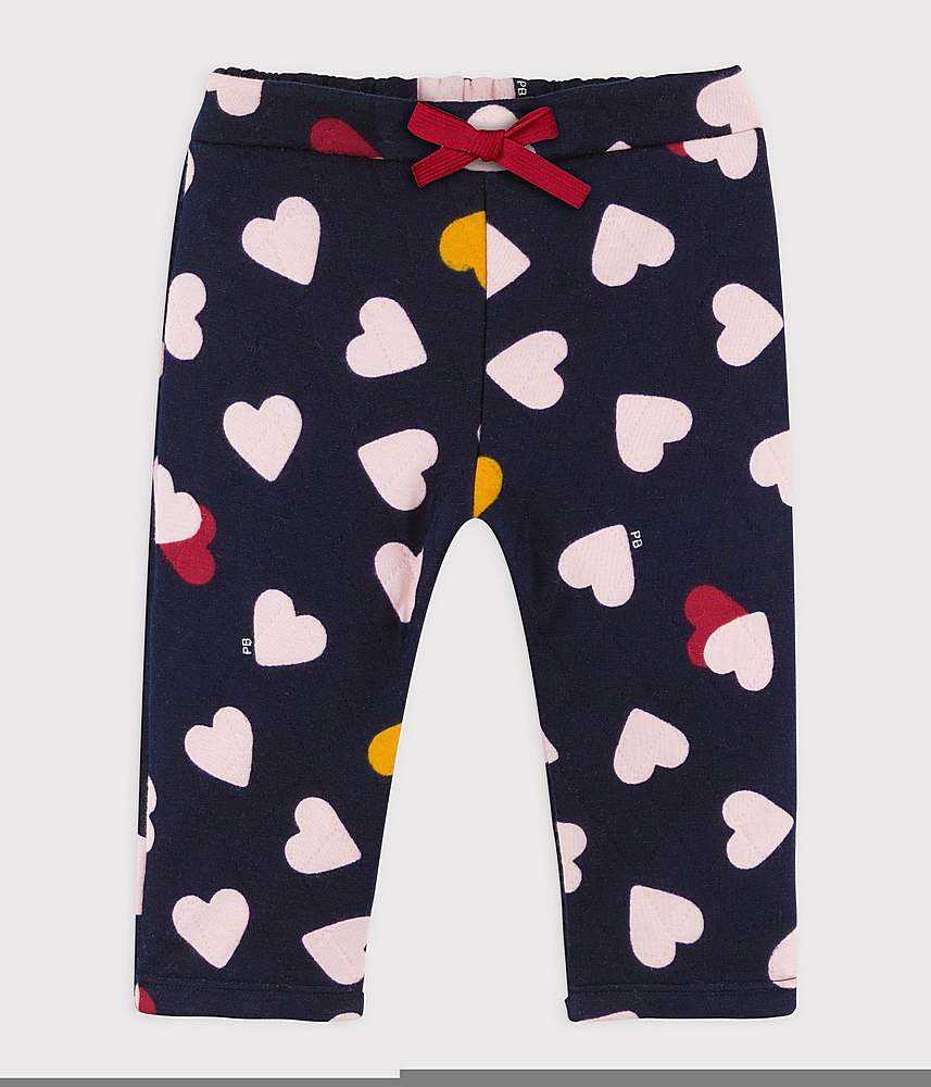 A02BH TILDA / 01 NAVY MULTI / Baby Girls Quilted Heart Print Pants