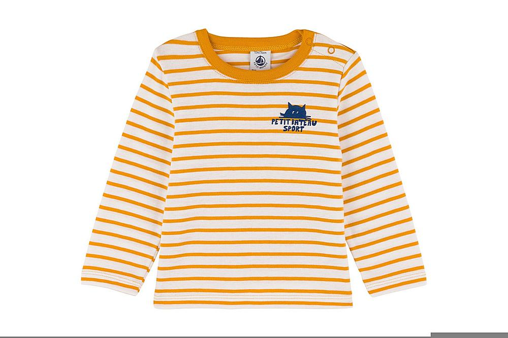 A030F THIRION / 05 YELLOW WHITE / Baby Ld Striped Tee With Graphic Detail