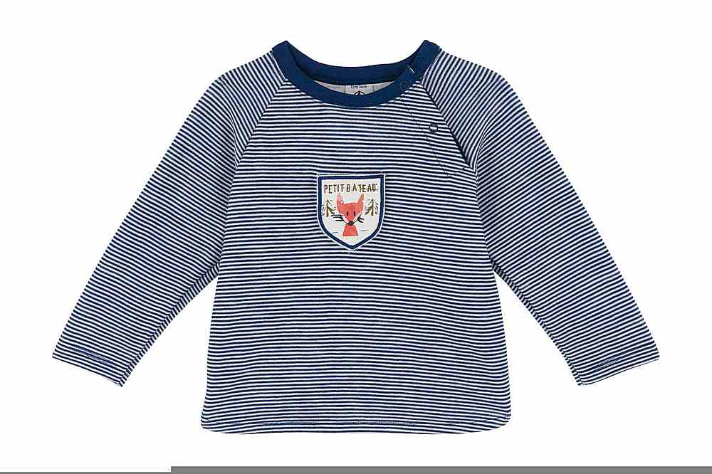 A02DR TODD / 01 NAVY WHITE / Baby Boy Ls Striped Top With Graphic