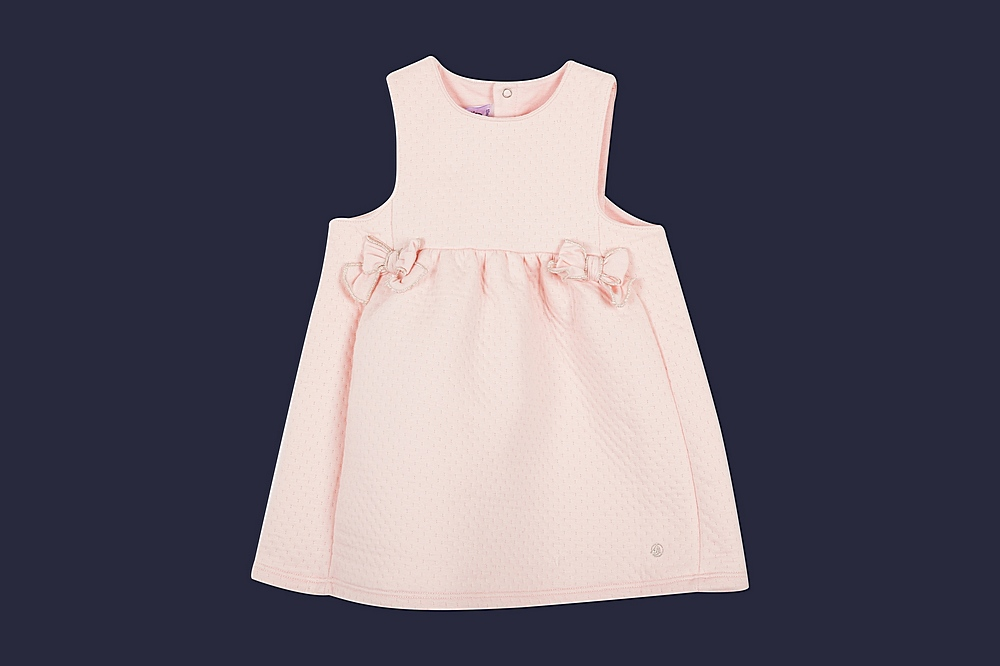57089 LEOPOLDIN / 01 PINK / Baby Girl Sleeverless Quilted Dress With Bows
