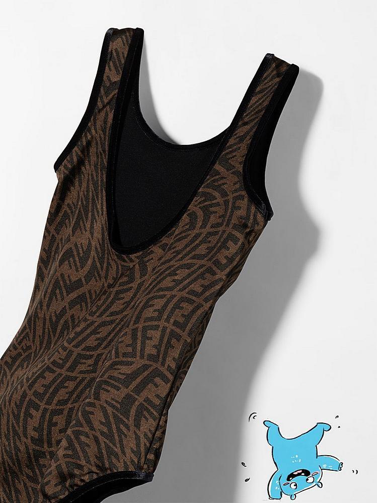 JFM029 AG1S / F118W BROWN / Girls 1 Pc Swimuit Vertigo Print