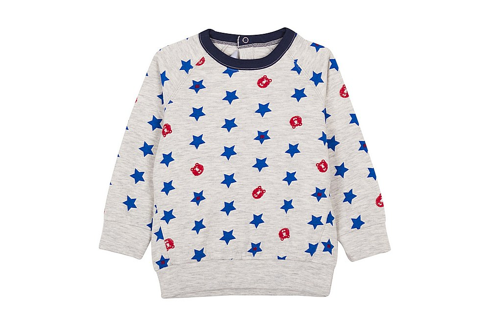 56244 LEONIN / 01 GREY MULTI / Baby Boy Star Print Sweatshirt