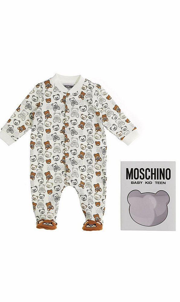 MUY03F / 83352 CLOUD / MOSCHINO PRINTED FOOTIE W/BEAR DETAIL