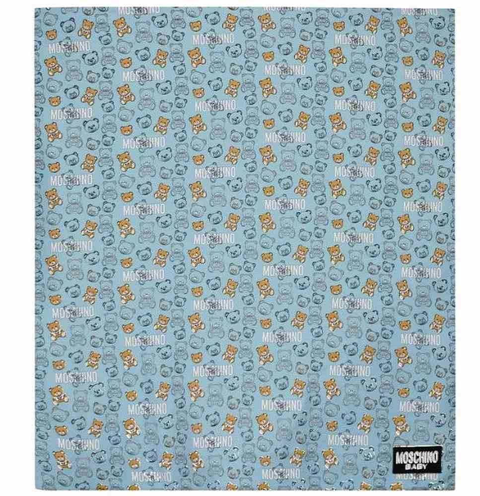 MUB007. / 83349 SKY TOY / MOSCHINO BLANKET W/LOGO AND BEAR ALLOVER PRINT