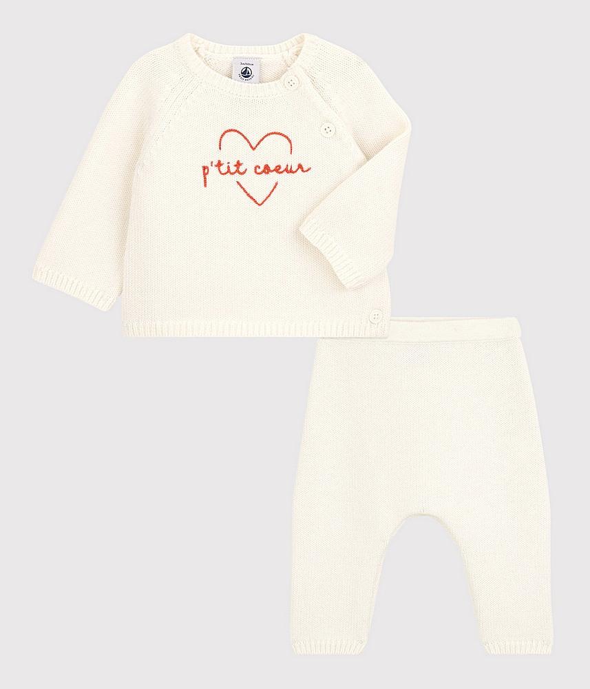 A01UA / WHITE / PETIT BATEAU 2PC SWEATER W/HEART AND PANTS SET