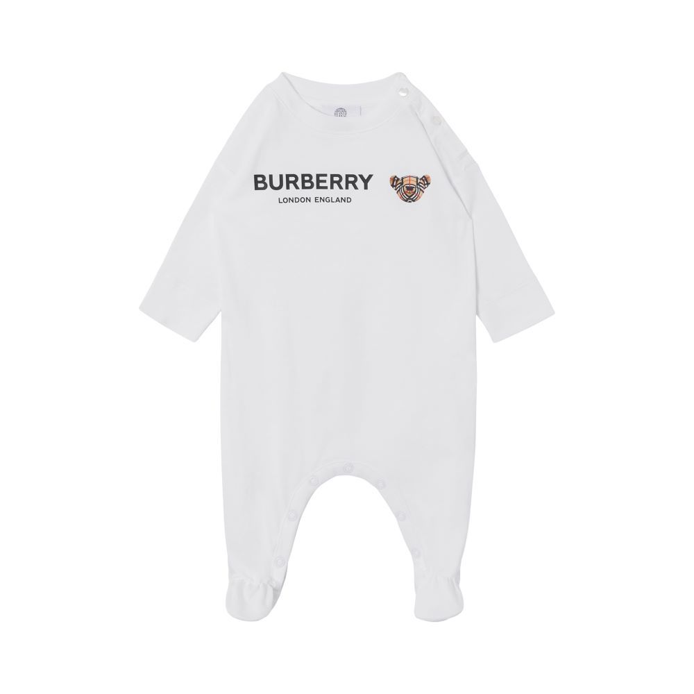 8043076 / WHITE / BURBERRY ONESIE W/BEAR