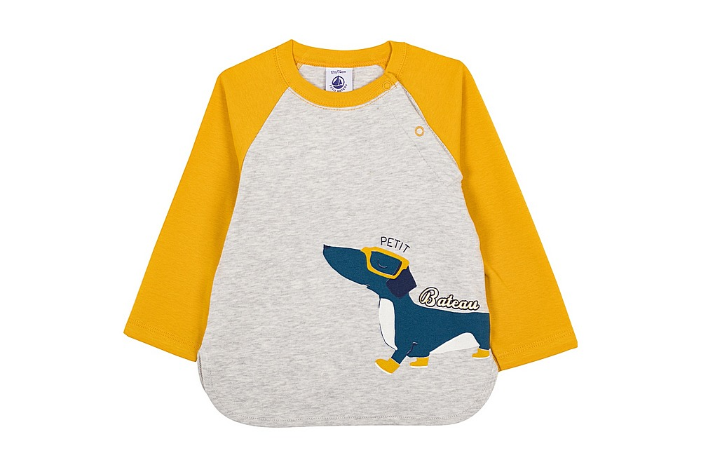 56227 LIBAN / 02 GREY YELLOW / Baby Boy Ls Tee With Graphic