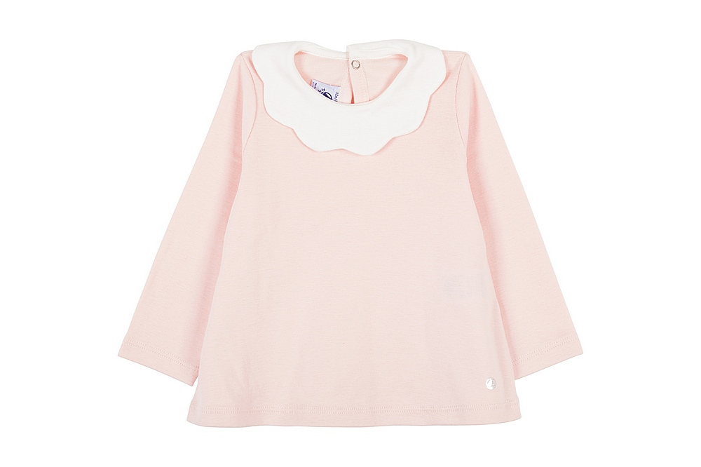 56248 LIBERTE / 03 PINK / Baby Girl Ls Top With Ruffle Collar