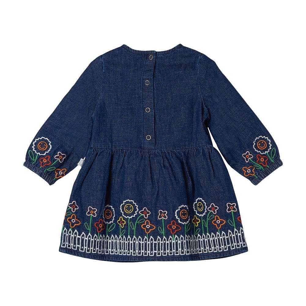 603370 SRK79 / 4145 BLUE / Baby Girl Denim Ls Dress With Flower Emb
