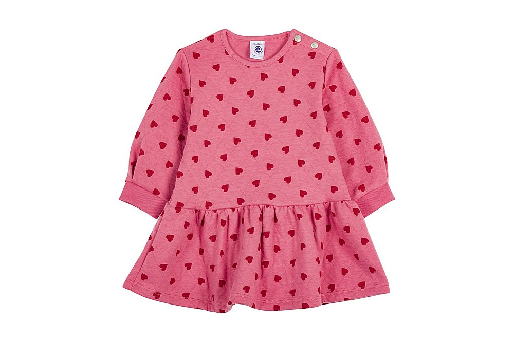 56315 LEVEL / 01 PINK RED / Baby Girl Ls Quilted Heart Print Dress
