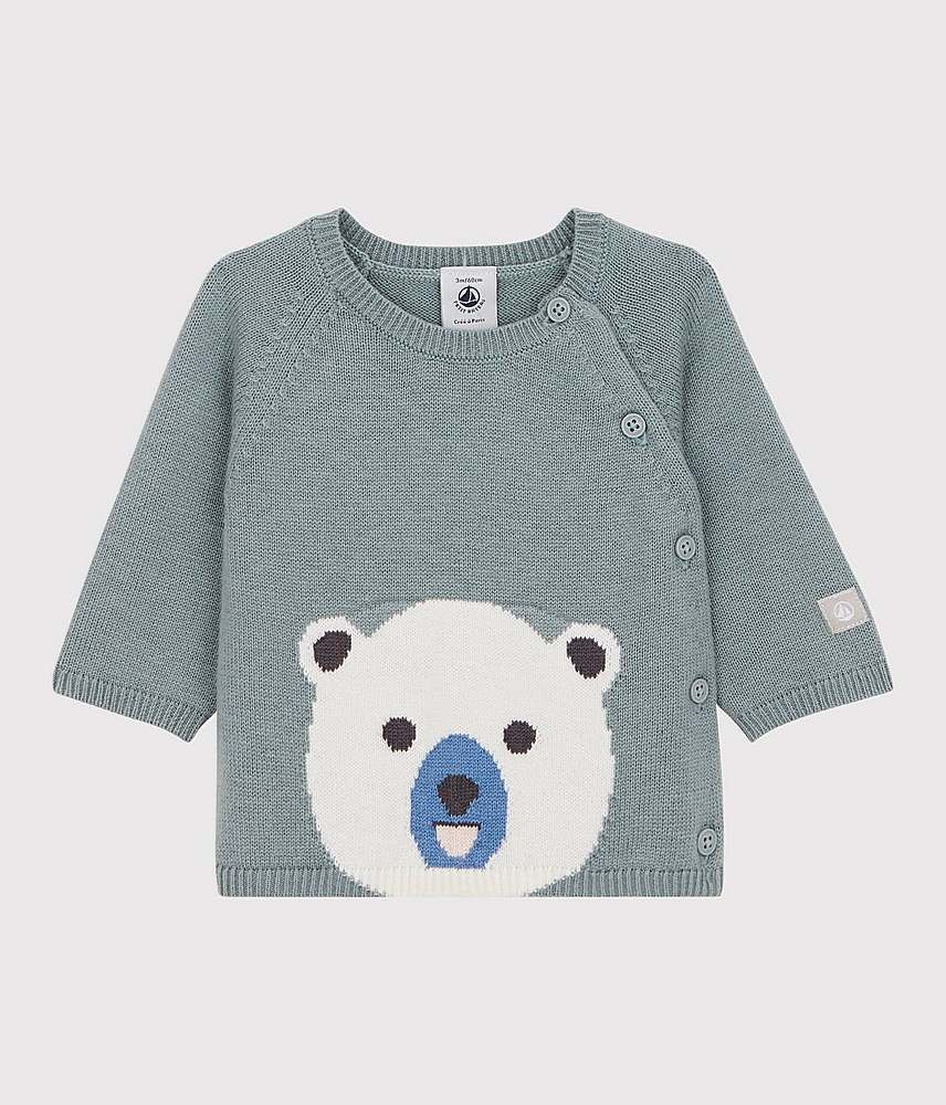 A01UD / 01 TEAL / SIDE BUTTON SWEATER W/TEDDY BEAR
