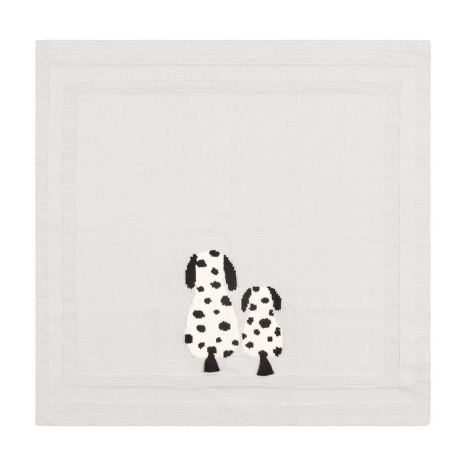 603477 SRM09 / 1400 GREY / Knit Blanket With Dog