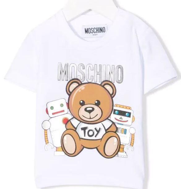 MVM02A / OPT WHITE / MOSCHINO SS TEE W/SNAPS AND BEAR/ROBOT