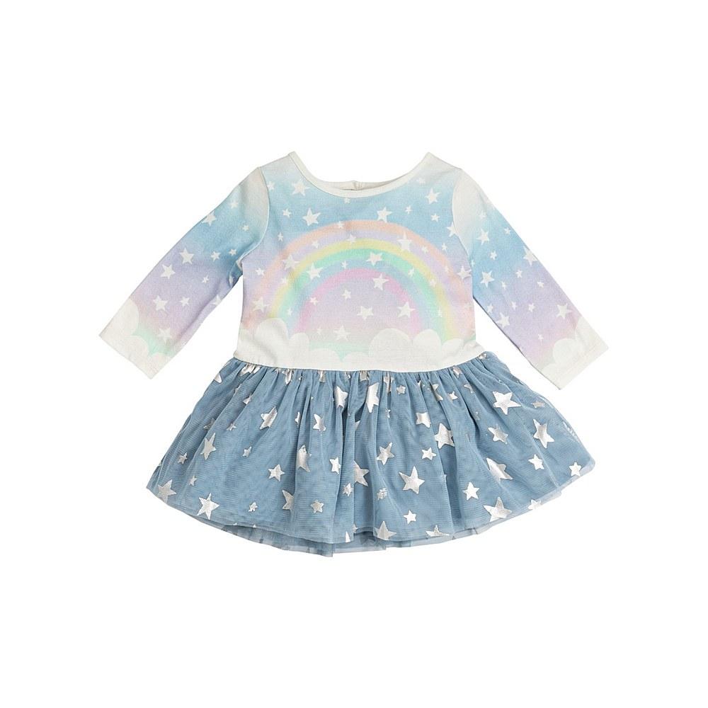 601353 SPJF7 / G848 BLUE / Baby Girl Longsleeve Rainbow Star Tulle Skirt Dress
