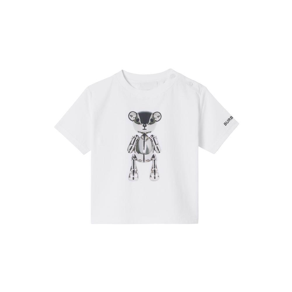 8044614 / WHITE / BURBERRY SILVER CHROME BEAR T-SHIRT