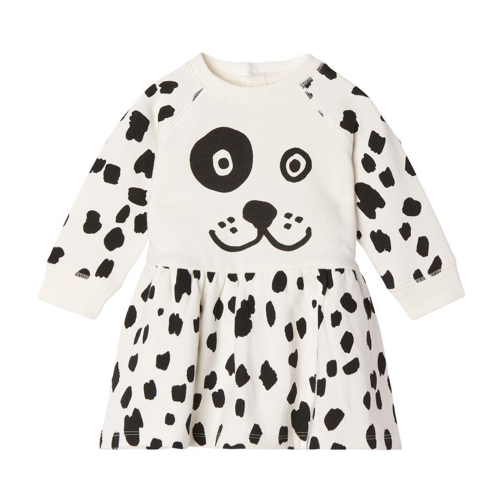 603492 SRJC6 / G912 WHITE / Baby Girl Dalmation Sweatshirt Dress