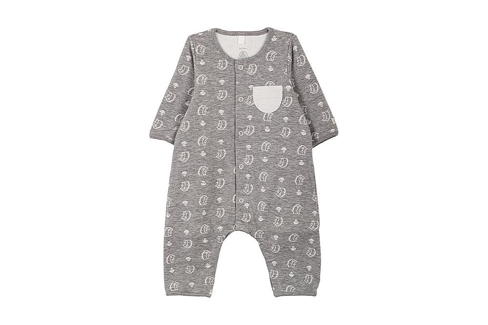 56678 LALUNE / 01 GREY / Baby Boy Ls Printed Romper