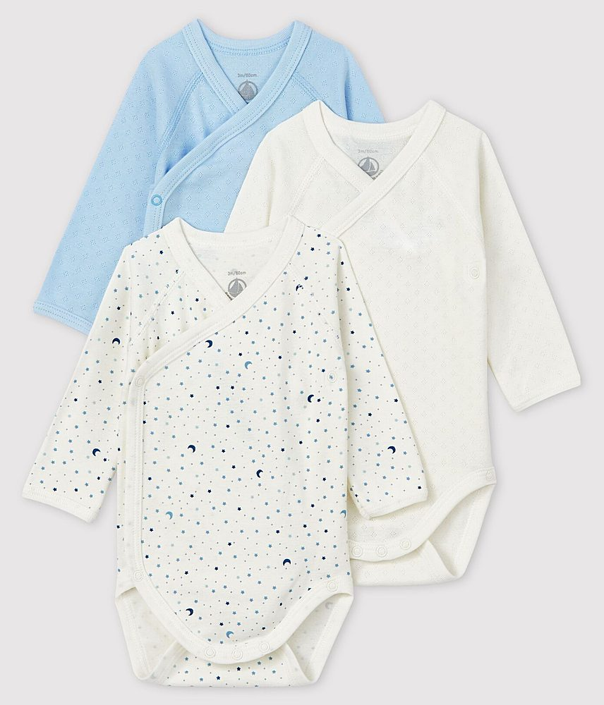56497. / 00 BLUE MULTI / Baby 3pc Ls Crossover Printed Solid Bodysuit