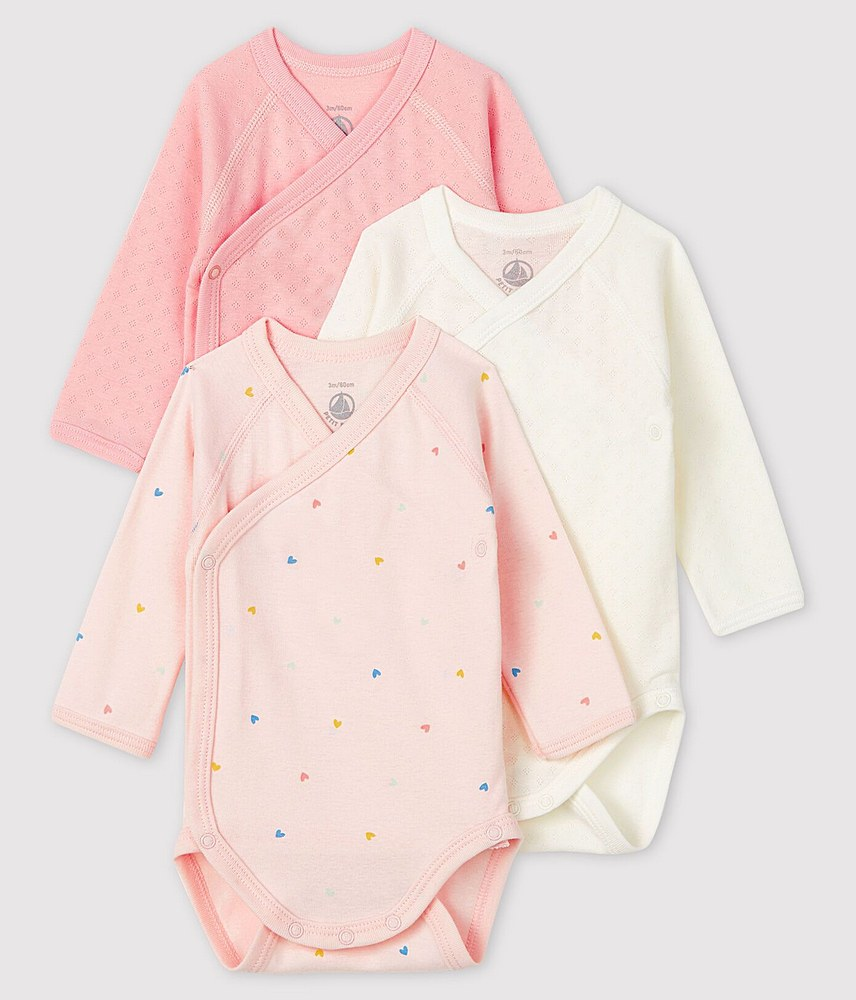 56497 / 99 PINK MULTI / Baby 3pc Ls Crossover Printed Solid Bodysuit