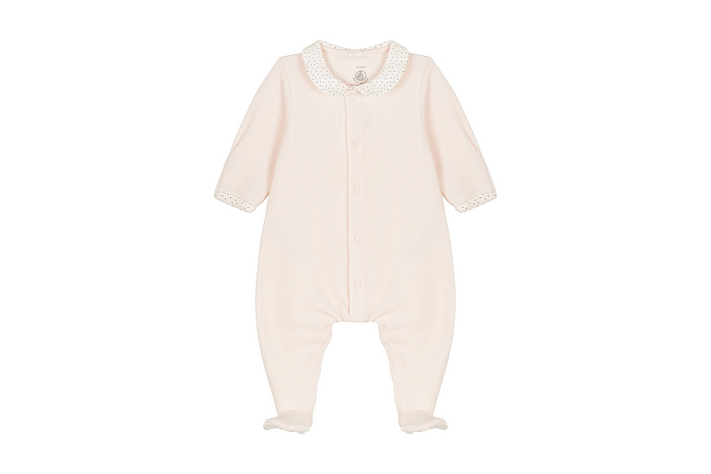 56381 LABBE / 01 PINK / Baby Girl Velour Front Snap Footie With Collar
