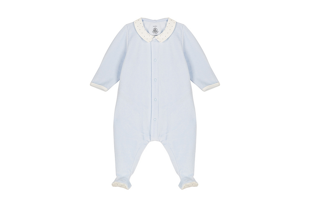 56382 LAB / 01 BLUE / Baby Boy Velour Front Snap Footie With Collar