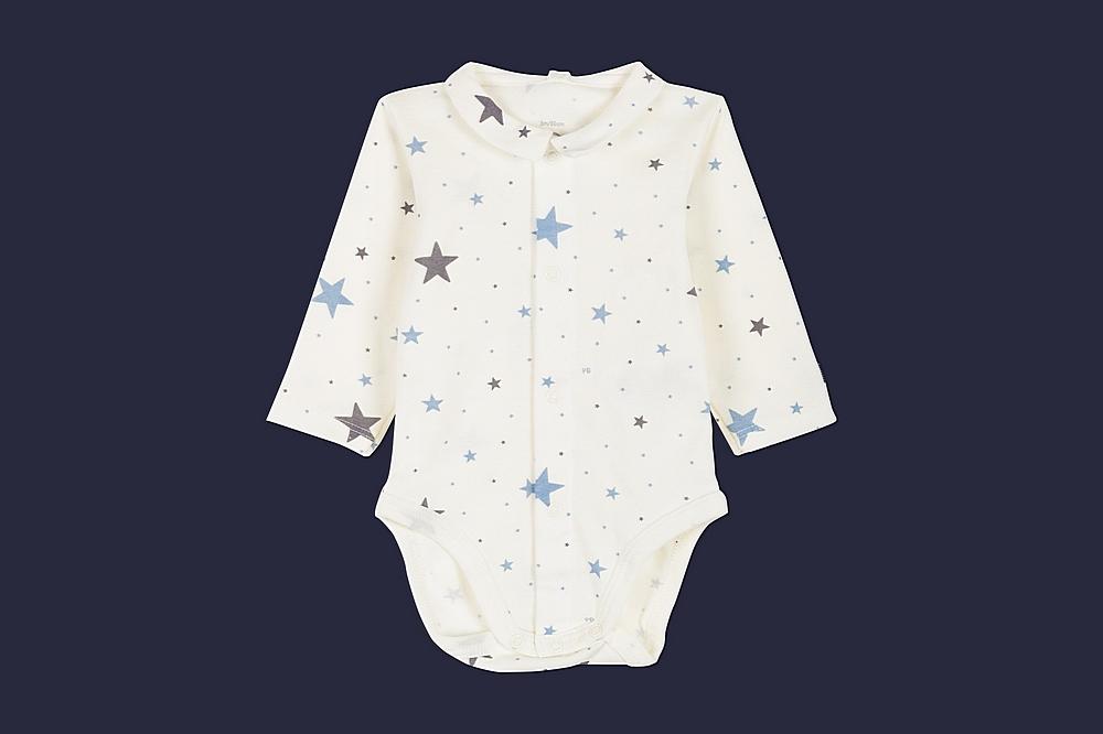 56967 LANDEAU / 01 WHITE BLUE / Baby Boy Ls Star Print Bodysuit With Collar