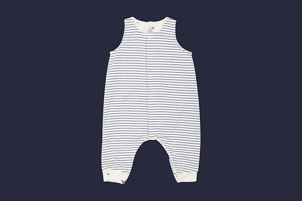 56965 LANDELIN / 01 BLUE WHITE / Baby Boy Striped Overall