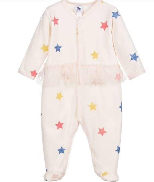 57343 LATIFA / 01 PINK MULTI / Baby Girl Front Snap Star Print Footie