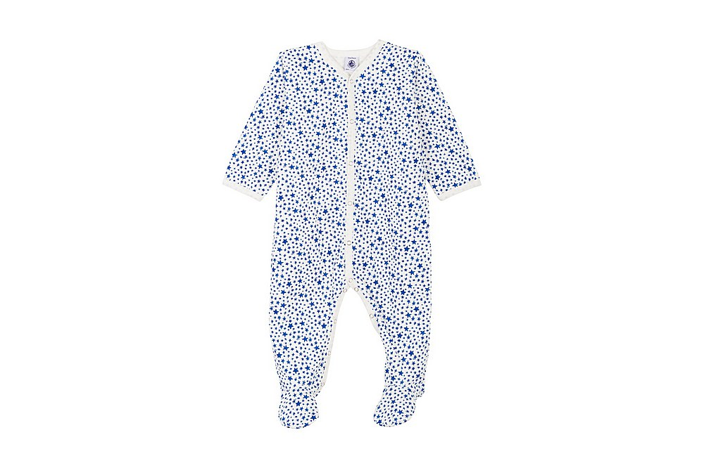 56150 LANUIT / 01 WHITE BLUE / Baby Boy Front Snap Star Print Footie