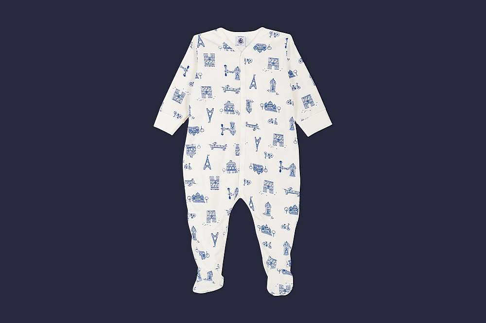 56149 LARIS / 01 WHITE BLUE / Baby Boy Front Snap Parisien Print Footie